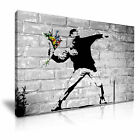 BANKSY Flower Thrower Thucker Graffiti Modern Art Print Framed Canvas Box ~1pc