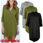 Womens Chiffon Blouse Long Sleeve Ladies T Shirt Casual Loose Short Dress Tops