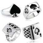 Fashion Man's Stainless Steel Ring Poker Ace of spades Titanium Steel Rings A209