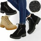 Womens Ladies Grip Sole Lace Up Ankle Boots Trainers Warm Fur Lined Shoes Size