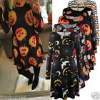 Womens Halloween Pumpkin Skull Print Long Sleeve Party Swing Mini Dress Tops Lot