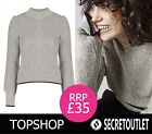 Topshop New Women's Grey Blouson Sleeve Cotton Jumper Top 8 10 12 14 16