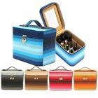 Large Leather Makeup Case Bag Cosmetic Train Storage Organizer Box With Mirror