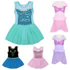 Girls Skate Dancing Cotton Gymnastic Dress Diamond Sequin Sleeveless