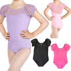 Girls Skating Dance Cotton Bodysuit Lace Gymnastic Short Sleeve