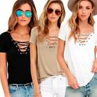 Womens Short Sleeve Casual Blouse Tops Summer hollow T-Shirt Shirt Fashion