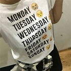 New Monday Thru Sunday Emoji White Letter Emoji T-shirt Summer Short Sleeve EW