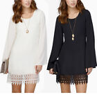 New Women Tassel Dress Loose Long Sleeve Evening Cocktail Skirt Lace stitching