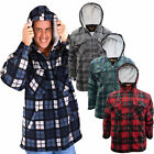 Bruno Galli Mens Lumberjack Shirt Fleece Lined Hooded Check Plaid Worker Jacket