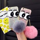 Rhinestone Handmade bling big eyes Cover Case with Rabbit fur for Various iPhone