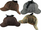 Sherlock Holmes Deerstalker Tweed Herringbone Country Check Wool Blend Hat Cap