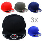 "Wholesale Lot 3 Plain Wool Blend Fitted Baseball Cap Flat Bill Hat ""with box"""
