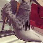Gothic Punk High Heels Pumps Fringe Stiletto Ankle Boots Booties Shoes Women's