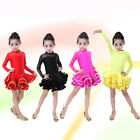 New Kids Girls Dancewear Latin Tango Salsa Ballroom Dance Dress Ruffled Costume