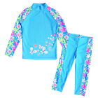 Girls Upf 50+ Bath Uv Protective Flower Long Sleeve Swimsuit Surf Swimwear 3-10Y
