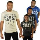 Mens Crosshatch Vintage Puff Print Graphic Designer Crew Neck T-Shirt Size