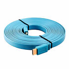 Gold Plated Flat HDMI Cable Lead for HD HDTV LCD PC Laptop BluRay 1080p 3D Blue
