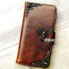 Skull Wing phone wallet Leather flip case Handmade Skin cover For HTC one M10 A9