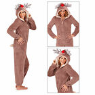 Womens 3D Reindeer Onesie Ladies Super Soft Fleece Hooded Christmas All In One
