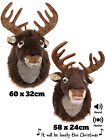 Singing Reindeer Head Christmas Xmas Hanging Soft Plush Stag Wall Decoration