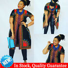 Womens Long Sleeve Traditional African Print Casual Party Dress Loose Top Blouse