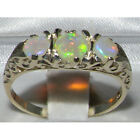 Rare Solid 925 Sterling Silver Natural Fiery Opal Victorian Style Trilogy Ring