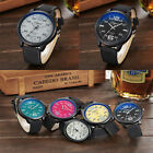 Fashion Watch Round Steel Case Men women Faux Leather Quartz analog wrist Watch