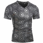 New!Summer Men's Fashion V-Neck Tee Tops Vintage Printing Casual T-Shirts Blouse