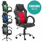 MORE4HOMES PRIX SPORTS RACING CAR OFFICE CHAIR, LEATHER with MESH, CHROME BASE