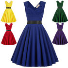 Ladies Retro Vintage V-Back High Stretchy Party Evening Dress 50s 60s Mini Swing
