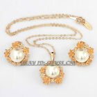 B1-S3053 Fashion White Pearl Glaze Flowers Earrings Necklace Jewelry Set 18KGP