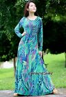 Long Sleeves Maxi Dress Plus Size Party Green New Peacock Coast Beach L XL 1X 2X