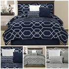 Chezmoi Collection 7-piece Hampton Geometric Hexagon Pattern Comforter Set