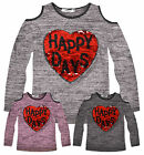 Girls Long Sleeved Sequin Heart T-Shirt New Kids Cold Shoulder Tops 2-14 Years