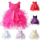 Toddler Baby Girls Bow Christening Baptism Wedding Dress Formal Party Gown 3-24M