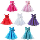 New Girl Rose Bow Wedding Bridesmaid Tulle Dress Princess Formal Party Gown 2-8Y
