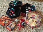 Huge Lot of 32 Bakugan Battle Brawlers With 77 cards + metal container, rulebook