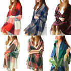 Womens Lady Winter Warm Tartan Check Neck Shawl Scarf Wrap Stole Plaid Pashmina