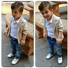 3PCS Baby Boys Dress Suit Coat/Shirt Tops/Denim Pants Set Kids Clothes Outfits