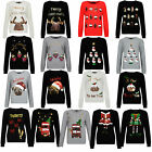Womens Sequin Novelty Santa Christmas Jumpers New Ladies Knitted Elf Sweater Top