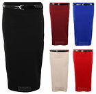 Ladies Ribbed Bodycon Womens Belted Pencil Skirt Red Stone Royal Blue Wine Black