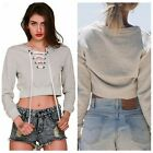 Fashion Women Short Sweatshirt Hoodies Pullovers Sport Casual Vneck Bandage Tops