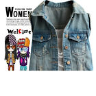 NEW Women's Frayed Personalized Cardigans Denim Jean Vests Coats Ladies