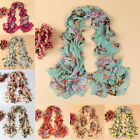 Elegant Women Lady Chiffon Butterfly Floral Long Scarf Sun Protection Shawl Warp