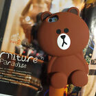 For iPhone 6/6S/6S Plus 3D Soft Silicone Line Cute Bear Brown Bunny Cony Case