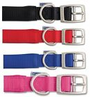 ancol nylon dog collar pink blue black red size 1-6 with optional engraved tag