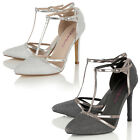 Dolcis Ladies Fine Glitter T-Bar Ankle Strap High Heel Pointed Toe Court Shoe