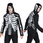 Christys Dress Up Mens Black And Bone Skeleton Print Zip Up Hoodie Halloween Top