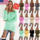 Womens Warm Long Sleeve Sweater Ladies Sweatshirt Jumper Pullover Tops Blouse