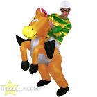 INFLATABLE HORSE RIDING FANCY DRESS GREEN JOCKEY RIDE ON SUIT NOVELTY COSTUME